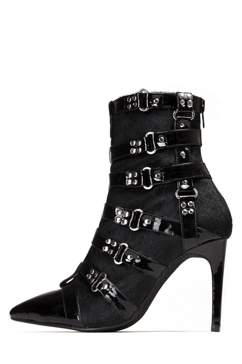 Jeffrey Campbell Shoes Zuul F Animal House In Black Hair Black Patent Shoes Jeffrey Campbell Shoes Boots