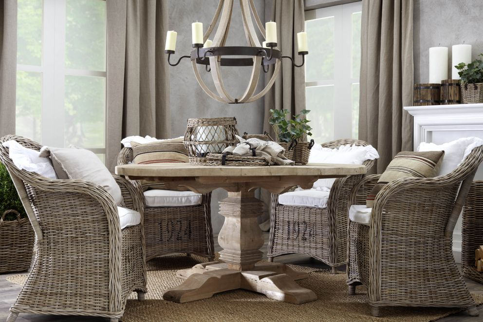 Grey Rattan Dining Chairs, Wicker Dining Room Chairs Indoor