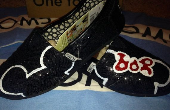 Mickey & Minnie Mouse Red Bow Silhouette Custom TOMS Shoes
