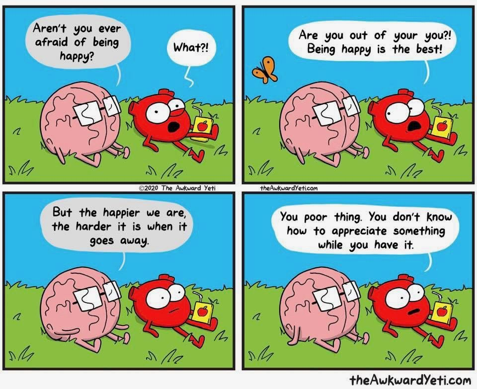 Being Happy Awkward Yeti Heart And Brain Comic Medical Humor
