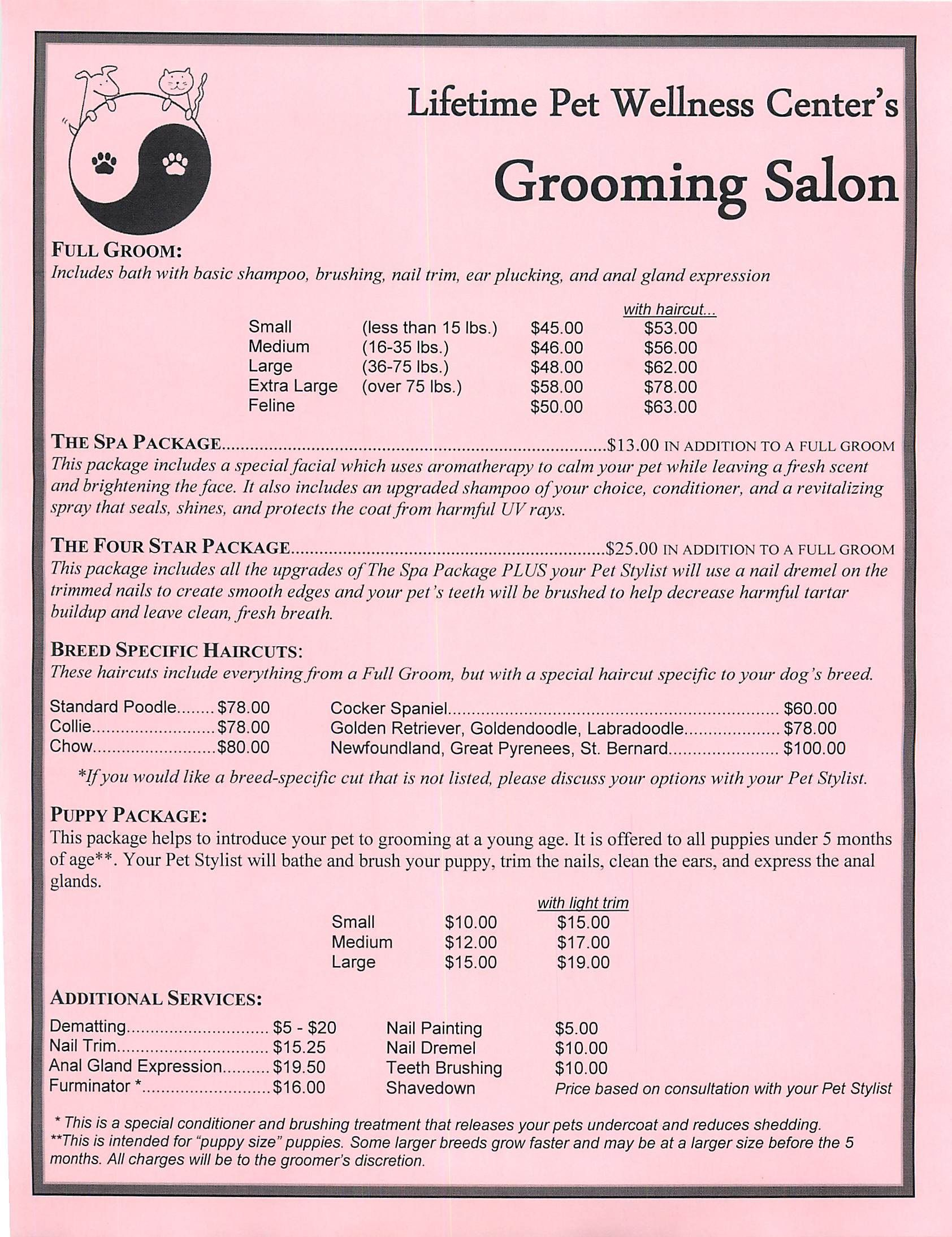 Grooming Services Price Sheet Grooming Stuff Dog