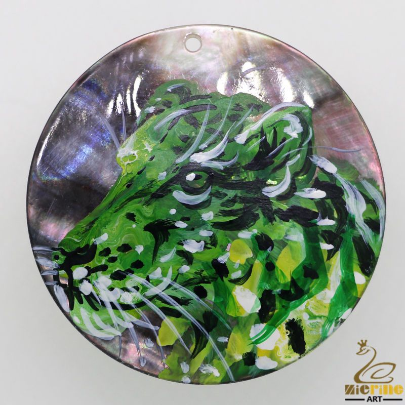 Cool Necklace Hand Painted Tiger Natural  Black Lip Shell  Pendant DIY #ZL #Pendant