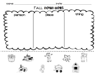 Kindergarten SuperKids: Fall Noun Sort (Free For Followers!) Nouns  Worksheet Kindergarten, Nouns Kindergarten, Nouns Worksheet