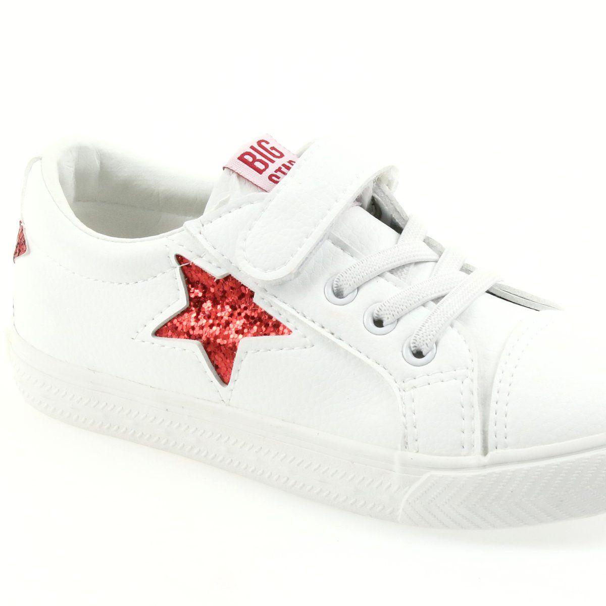 Big Star Trampki Na Rzepy Gwiazda 374102 Biale Czerwone Sneakers White Sneaker Superga Sneaker