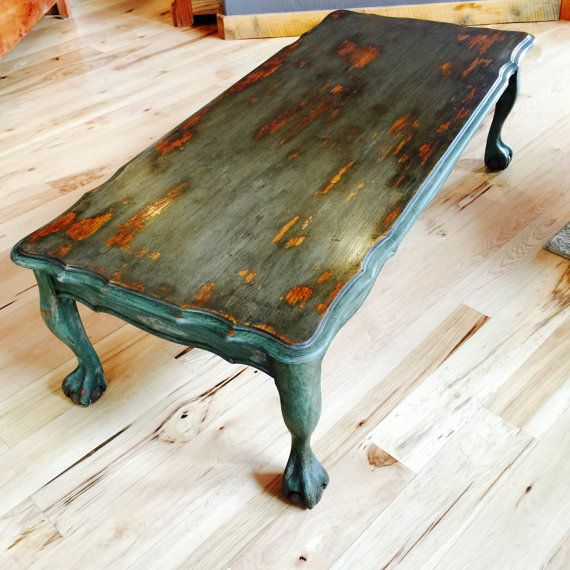 French Country Distressed Coffee Table: Vintage Painted Coffee Table Rustic Chippy Paint