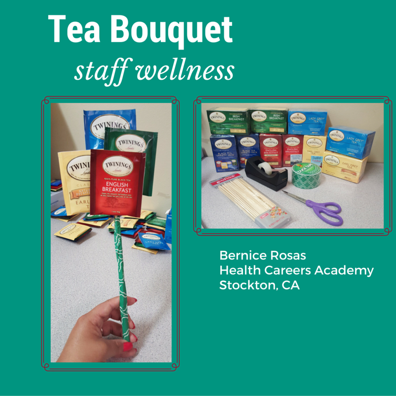 These are Tea Bouquets I used for staff appreciation at my high school. What you need: green duct tape, regular tape, scissors, 100pc Kabob/skewer sticks and Twinnings tea in different colors. I used Twinnings tea because I knew the packets were also colored. I used Tazo Tea packets before and those packets were white and didn't help bring color to the Bouquets. #health #education #classroom #projects