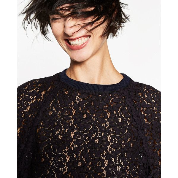 LACE TOP - NEW IN-WOMAN | ZARA United States (1.205 CZK) ❤ liked on Polyvore featuring tops, lacy tops and lace top