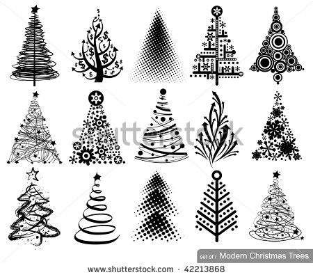Set Of Modern Christmas Trees 15 Designs In One File Stock Vector Modern Christmas Tree Christmas Tree Drawing Modern Christmas