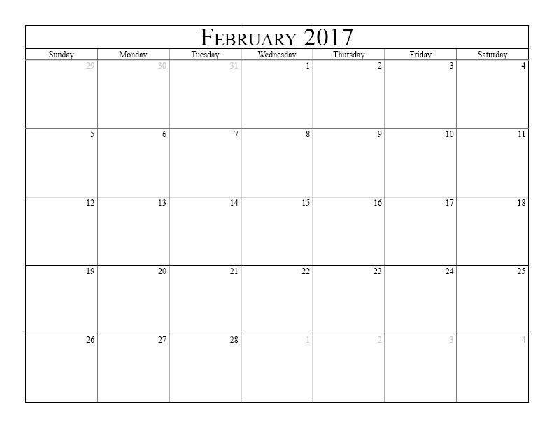 February 2017 Calendar Printable Calendar 2016 2017 Holidays ...