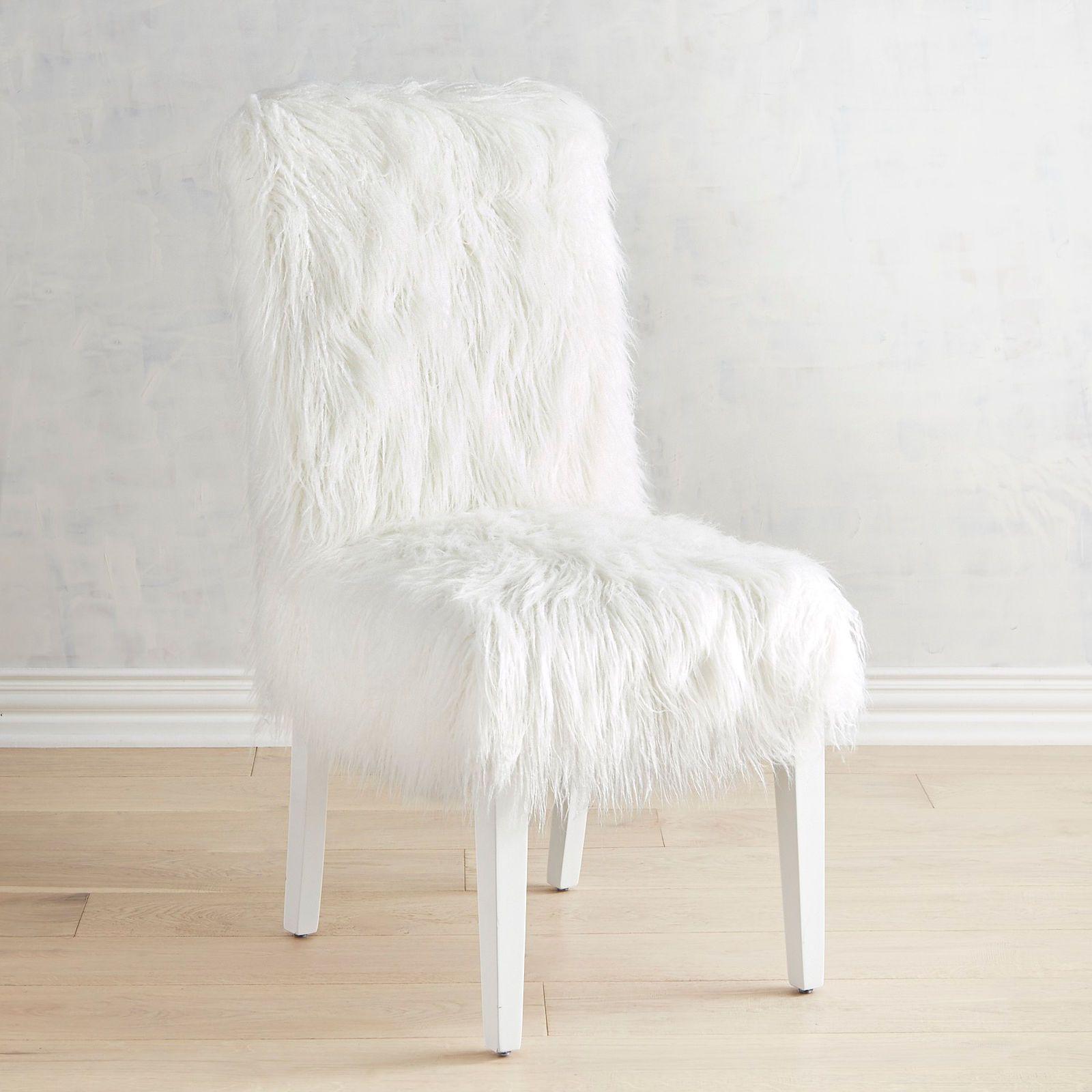 Berkley White Faux Fur Dining Chair Pier 1 Imports
