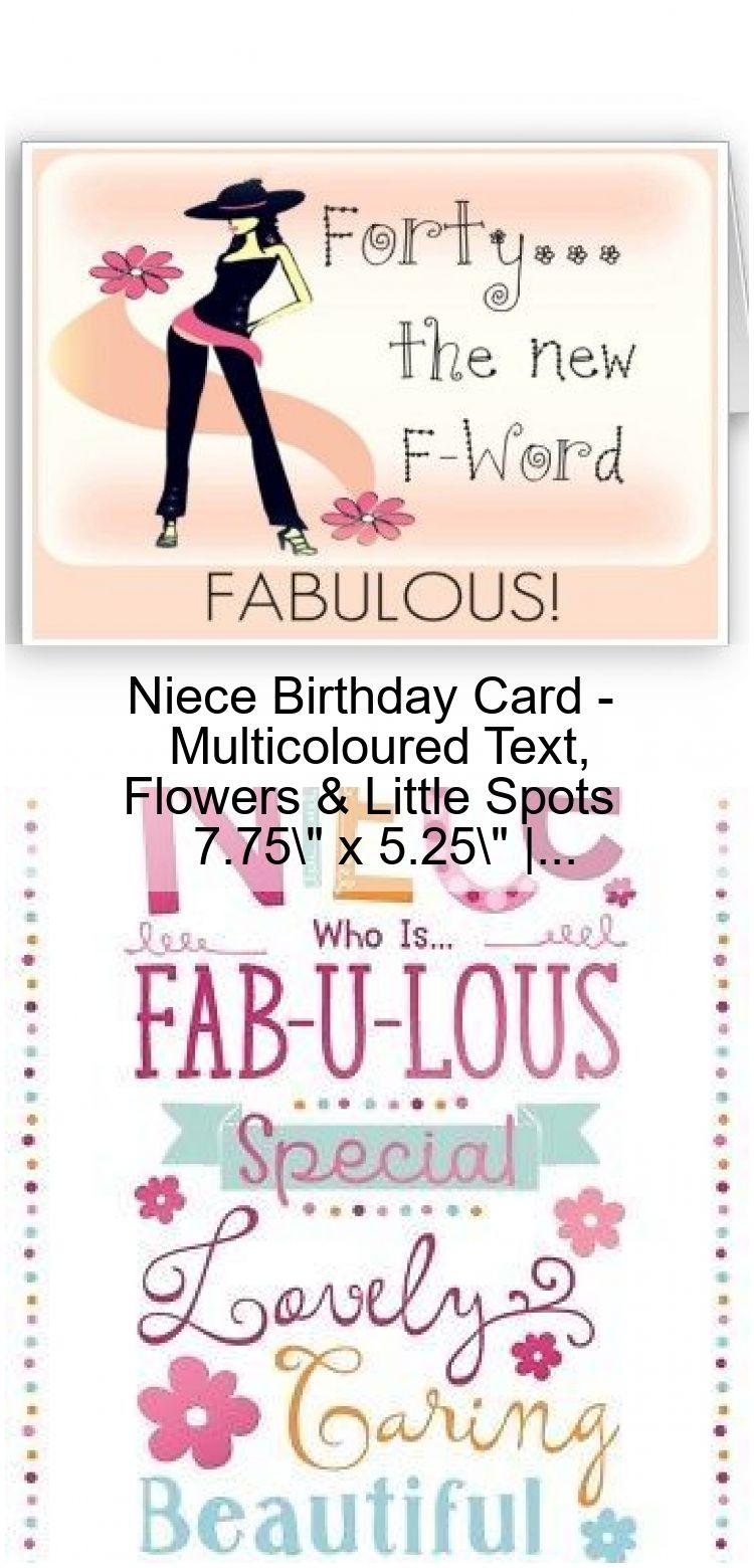 Niece Birthday Card Multicoloured Text, Flowers & Little
