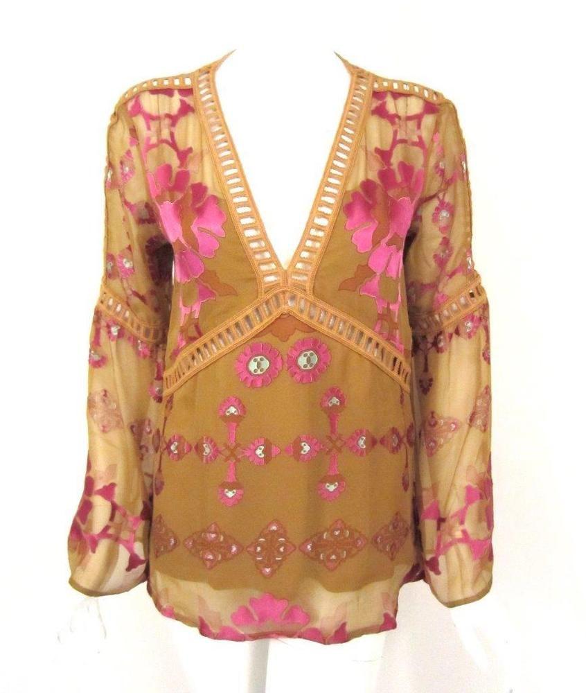 FOR LOVE & LEMONS GOLD & PINK FLORAL PRINT 'BARCELONA' CHIFFON TOP SZ.S #FORLOVELEMONS #Blouse