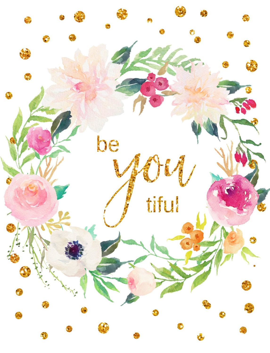 Be You Tiful Printable Art Girly Print Girls Room Decor