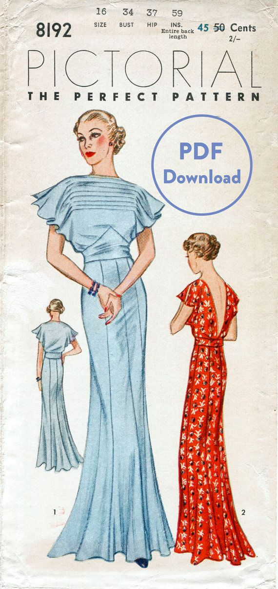 vintage sewing pattern 30s 1930s vintage gown wedding bridal evening or afternoon dress bust 34 PDF Download