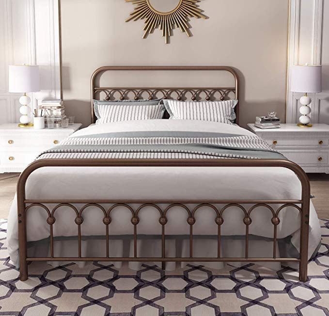 Best Amazon Com Vintage Sturdy Queen Size Metal Bed Frame With 400 x 300