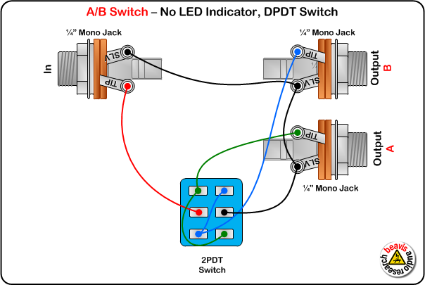 A/B Switch Wiring Diagram, No LED, DPDT Switch | DIY Pedals ...