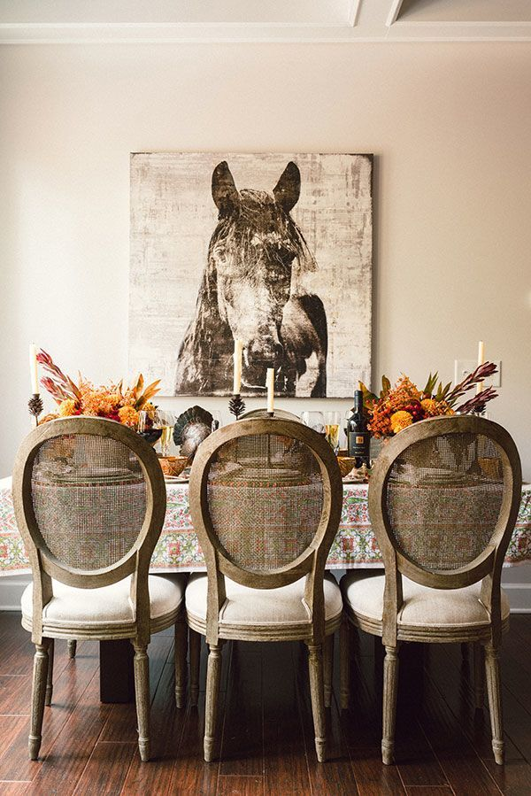 Horse Equestrian Art Hunt In Dining Room Louis Chairs With Cane Backs Fall Foliage