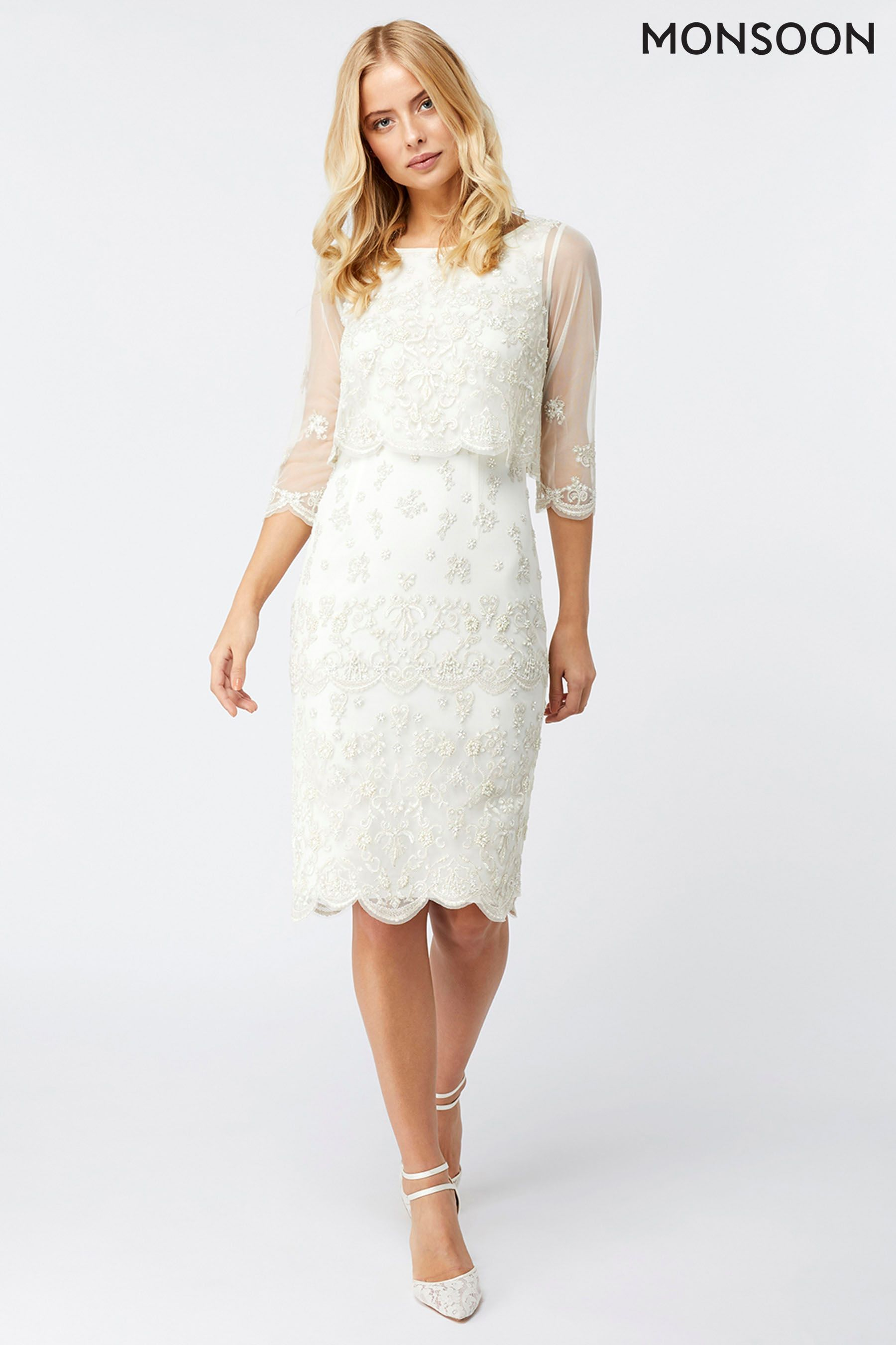 Buy Monsoon Ivory Henrietta Embellished Short Dress From The Next Uk Online Shop Short Bridal Dress Knee Length Wedding Dress Bridal Dresses