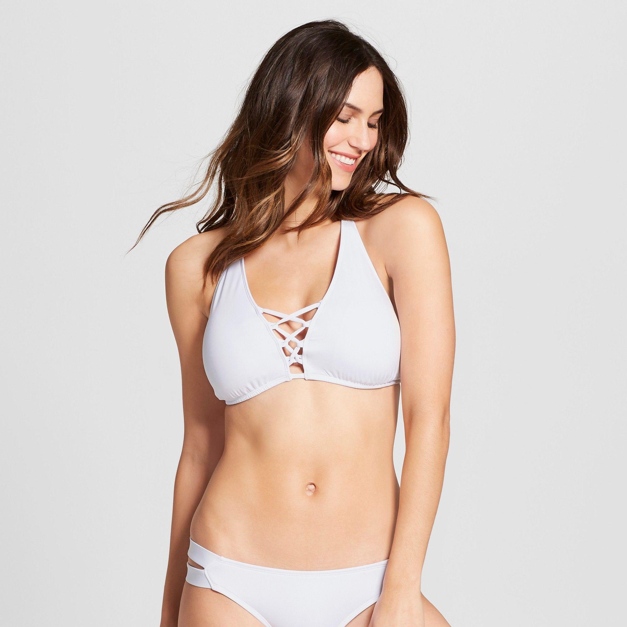 2e39ad1c345a0 Women s Strappy High Neck Halter Bikini Top - White - D DD Cup - Mossimo