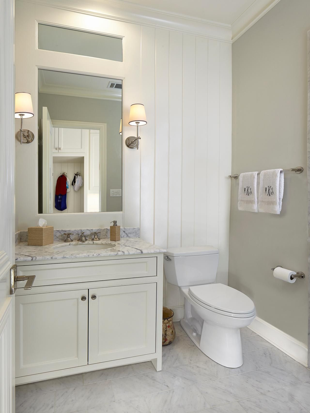 White Bathroom with Paneling ** More details can be found by ...