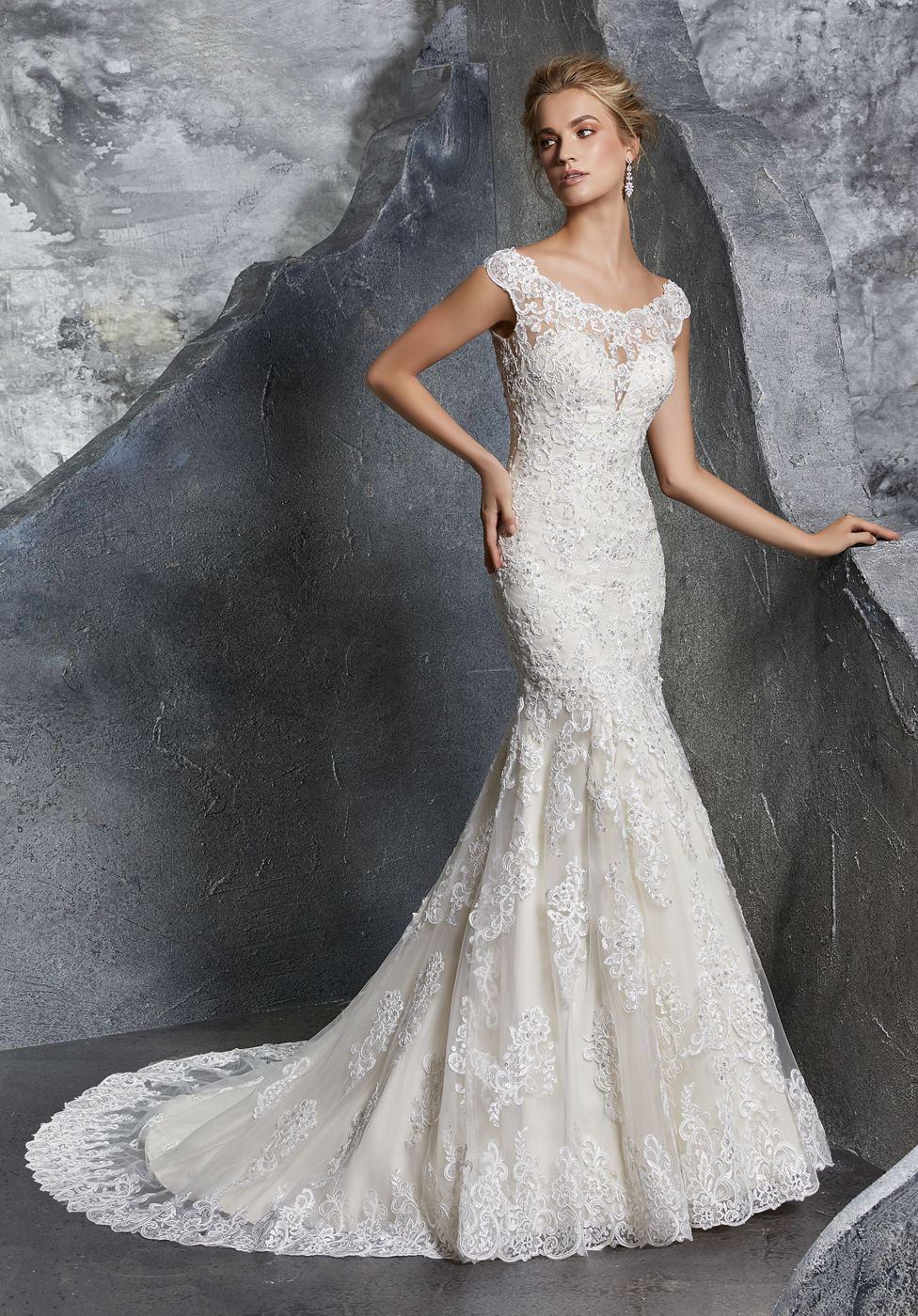 Mori Lee 8219 Keely Cap Sleeve Trumpet Style Bridal Dress Mori Lee Wedding Dress Fit And Flare Wedding Dress Wedding Dress Styles [ 1400 x 976 Pixel ]