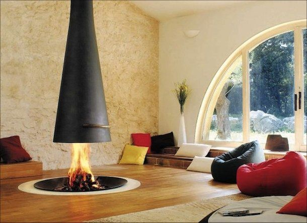 Open Fireplace In The Middle Of The Room Cozy Homes Life In 2020 Fireplace Design Contemporary Fireplace Indoor Fireplace