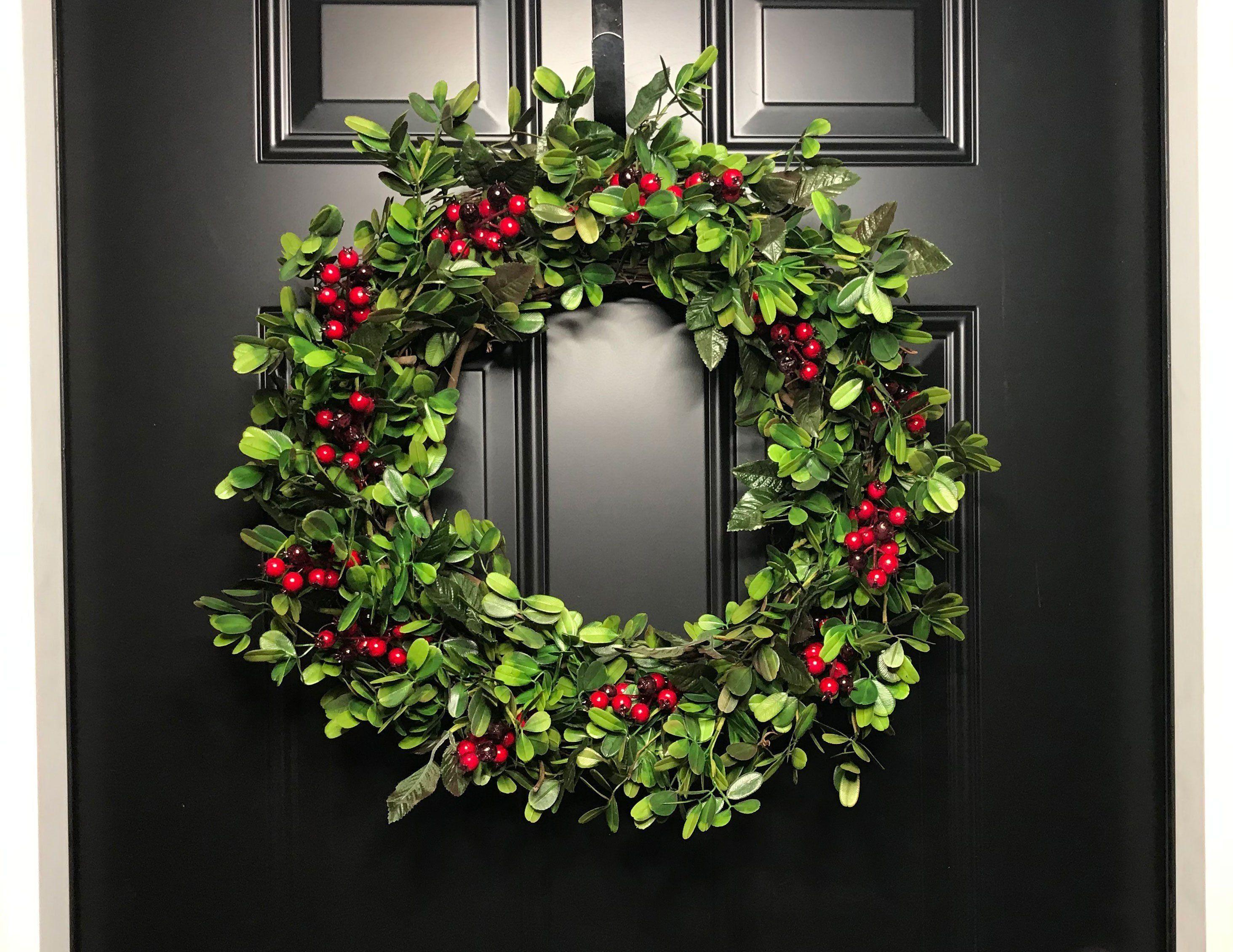 christmas wreath front door wreath wreath holiday wreath Berry wreath wreath for christmas christmas decor red berry wreath