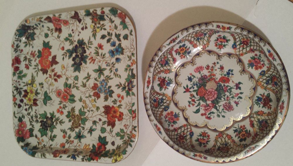 Daher Decorated Ware Tray Made In England Lot Of 2 Vintage Daher Decorated Ware Metal Bowl Tray Floral Made