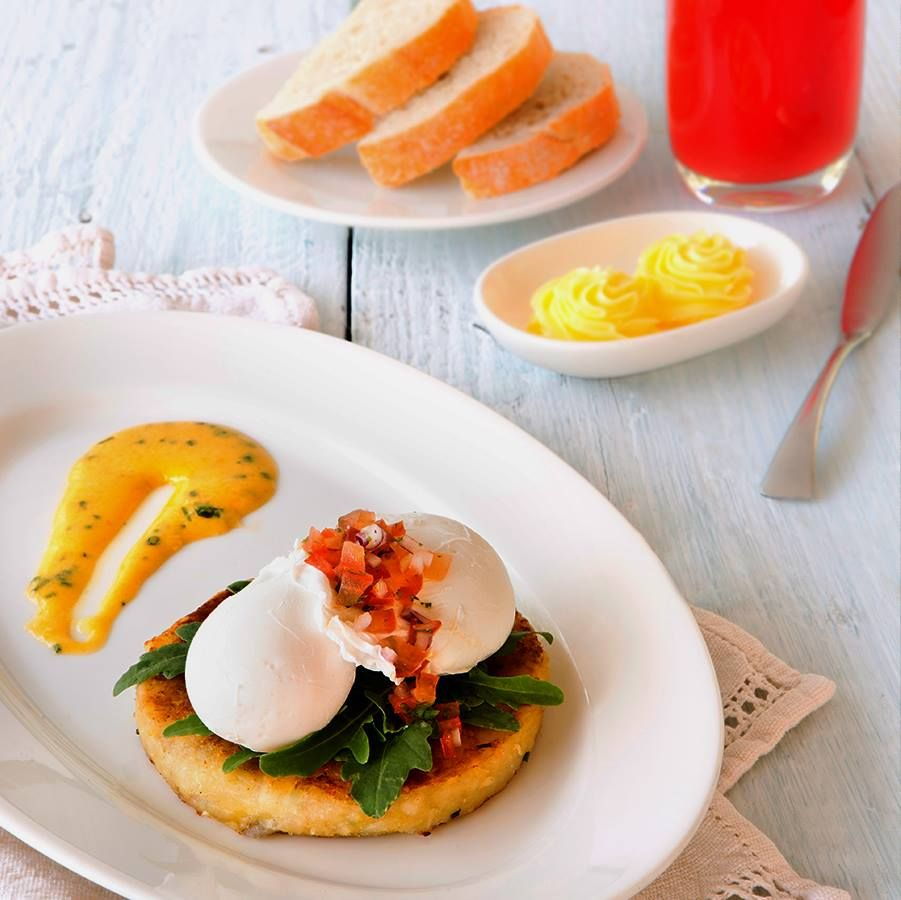 Breakfast with a twist. Try our Poached Egg on tapioca infused hash brown! #newmenu #yum
