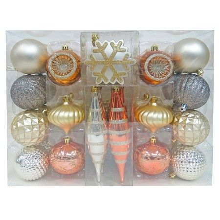 40ct fashion metallic shatterproof christmas ornament set wondershop target