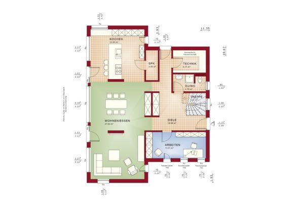 Haus Grundriss Stadtvilla Erdgeschoss, 5 Zimmer, 165 qm