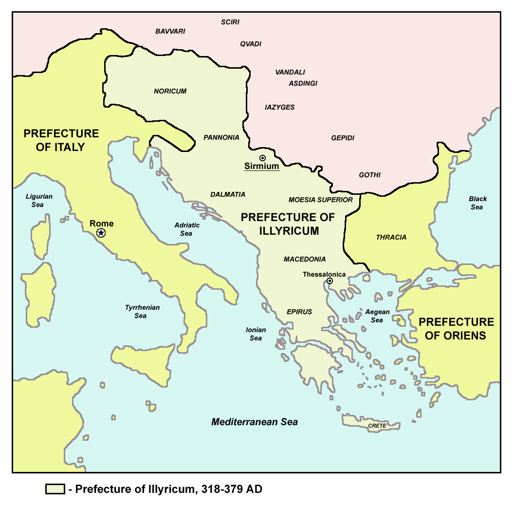 The Prefecture Of Illyria In The 4th Century (light Green).