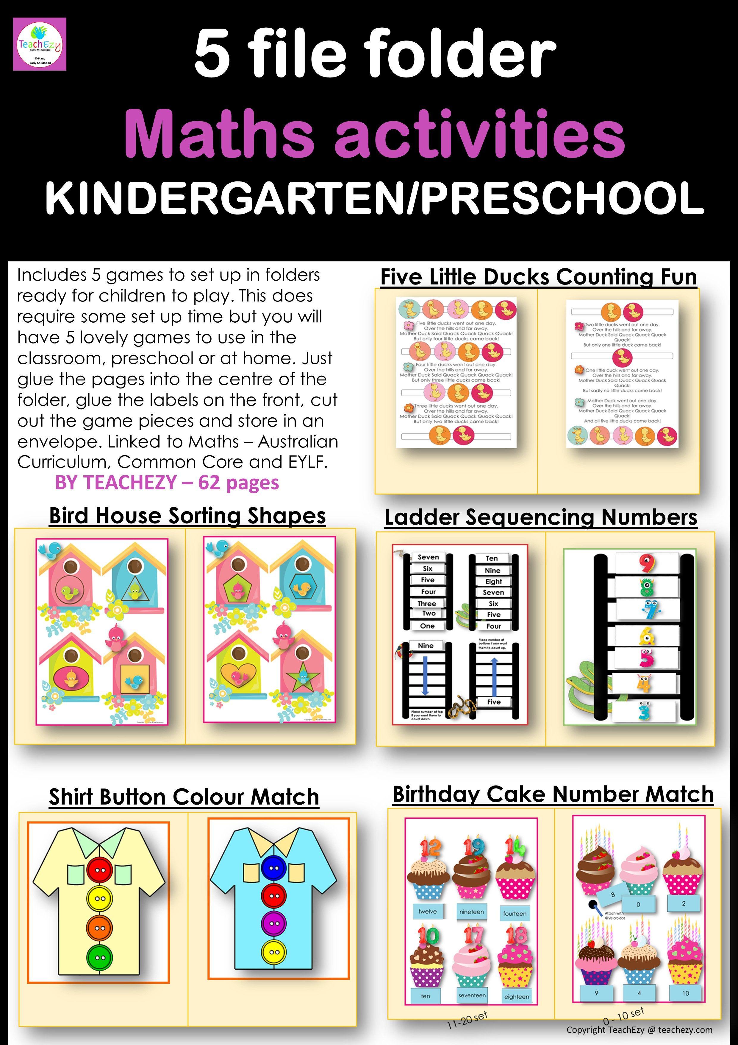 teaching resources shop Math activities preschool