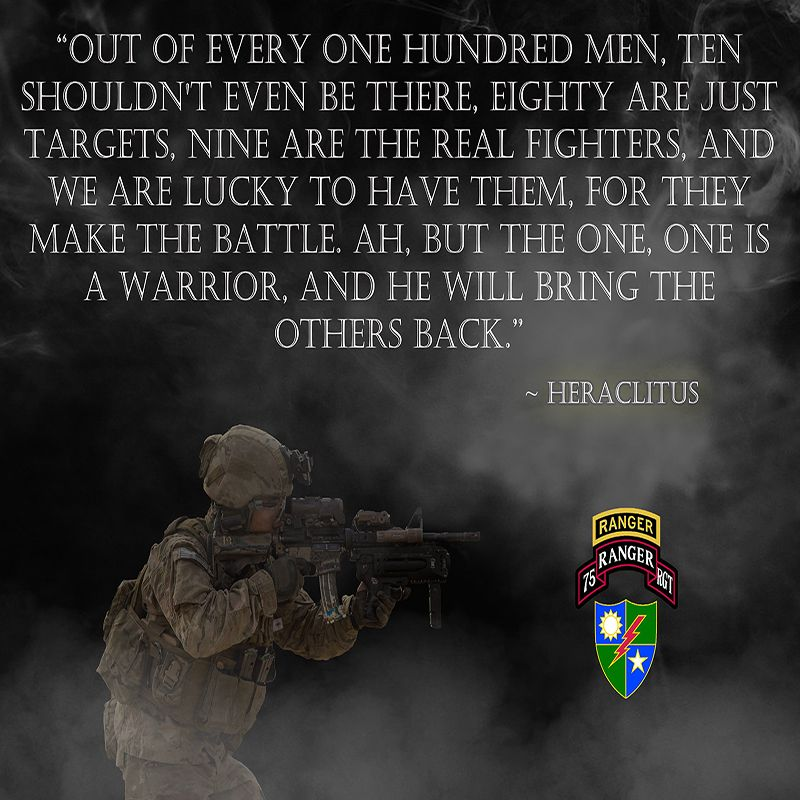 ARMY RANGER POSTER FEATURING ARMY RANGERS AND A MOTIVATIONAL QUOTE Classy Military Motivational Quotes