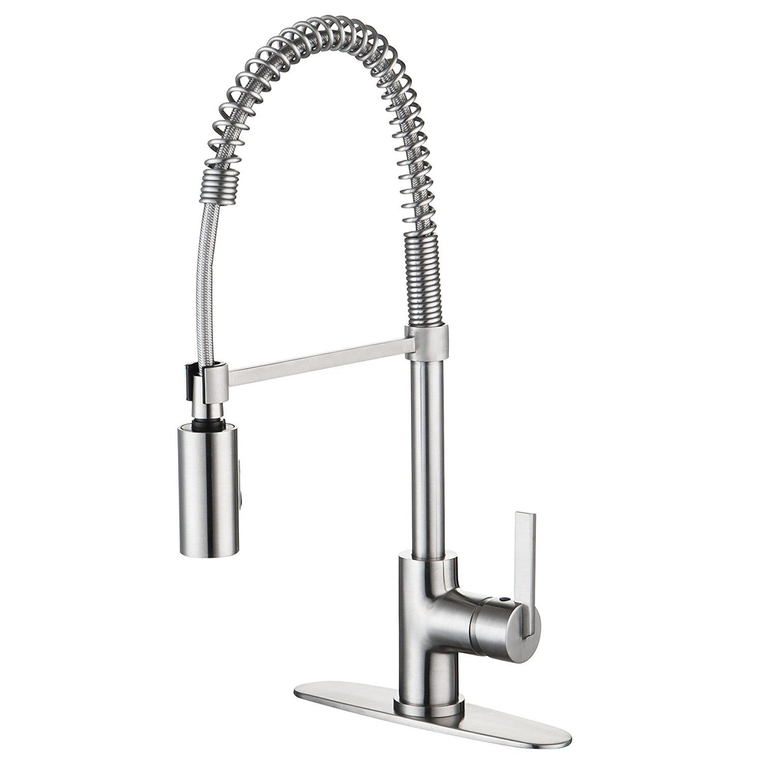 Enzo Rodi Modern Commercial Spring Single Handle Pull Down Sprayer Kitchen  Faucet Stainless Steel, UPC/cUPC AB 1953 Compliant