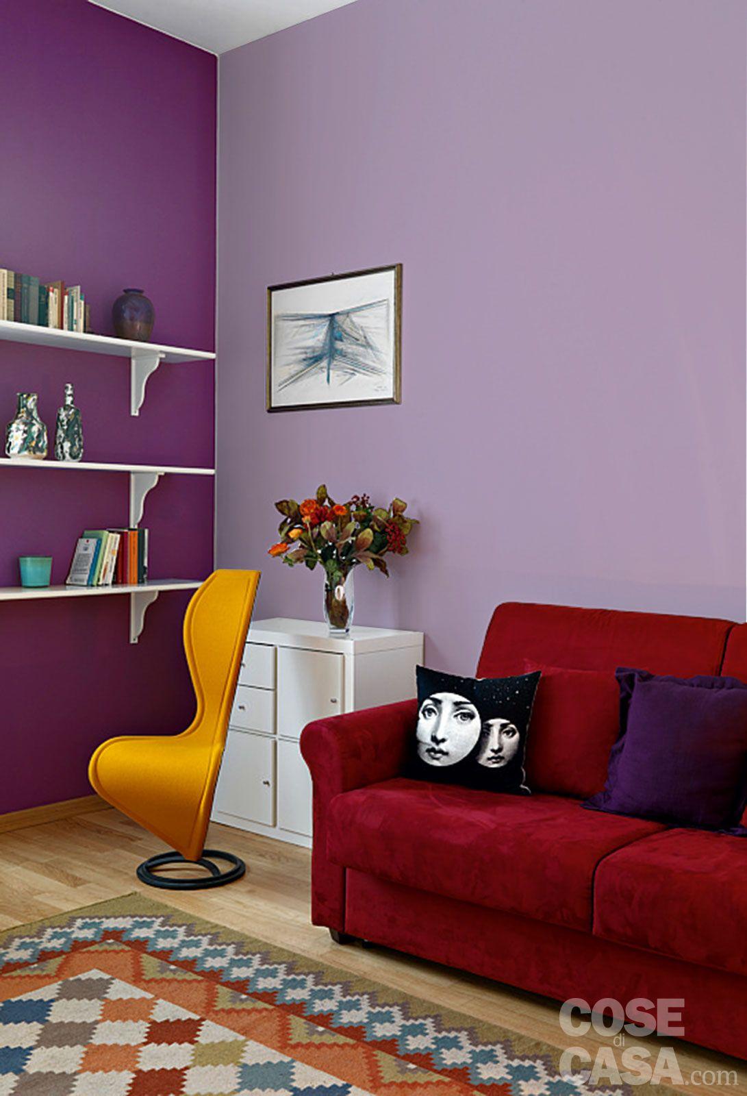 5-parete-viola | pareti | pinterest - Parete Soggiorno Fucsia 2