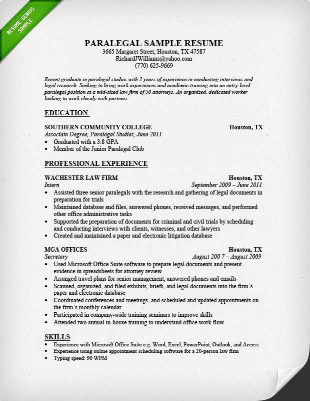 paralegal resume - Google Search The Backup Plan Pinterest - sample law resumes