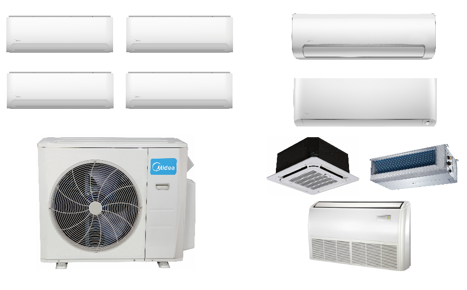 Midea 4 Zone Ductless In Minisplitwarehouse Com Our Ductless Mini Split Ac Systems Are Priced To Save You Money Midea 4 Ductless Mini Split Ductless Heat Pump