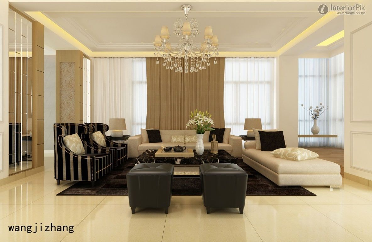 Simple European ceiling decoration living room effect chart ...