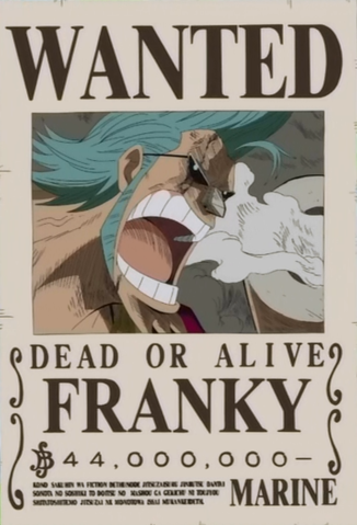 Franky S Wanted Poster Png One Piece Bounties One Piece Anime One Piece Luffy