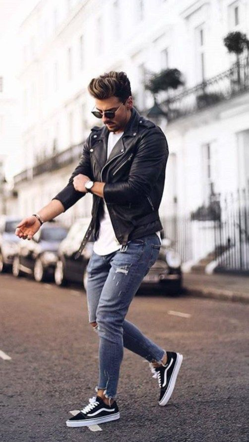 Photo of Rough street style for men • Vans combined with leather jack…