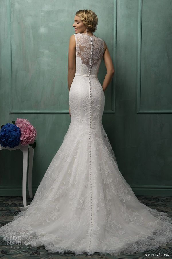 White lace, floral wedding dress.. The buttons all the way down the ...