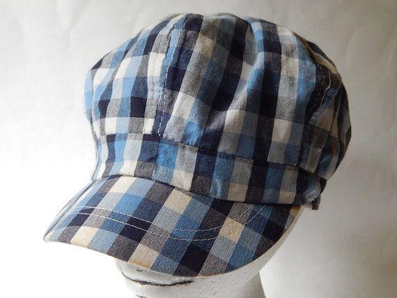 Blue Plaid Train Conductor s Style Hat  plaid  blue  train  hat  cap   vintage 5d09f179f7d