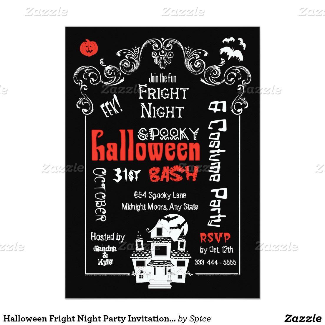 Halloween Fright Night Party Invitation- Groupon 5x7 Paper ...