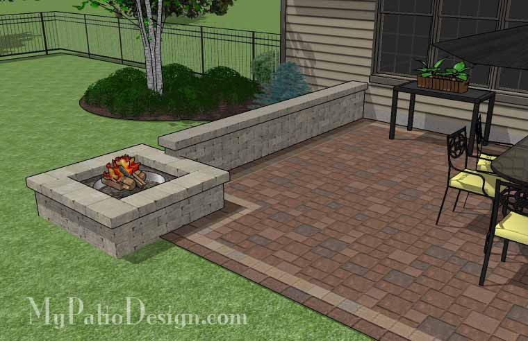 Rectangular Patio Design With Seat Walls And Fire Pit 420 Sq Ft Download Installation Plan How To S And Materi Outdoor Fire Pit Designs Patio Design Patio