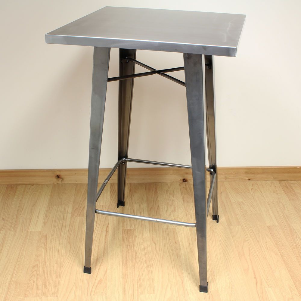 Gunmetal 100cm Tall Metal Square Bistro/Cafe/Bar Table Industrial/Vintage  Style