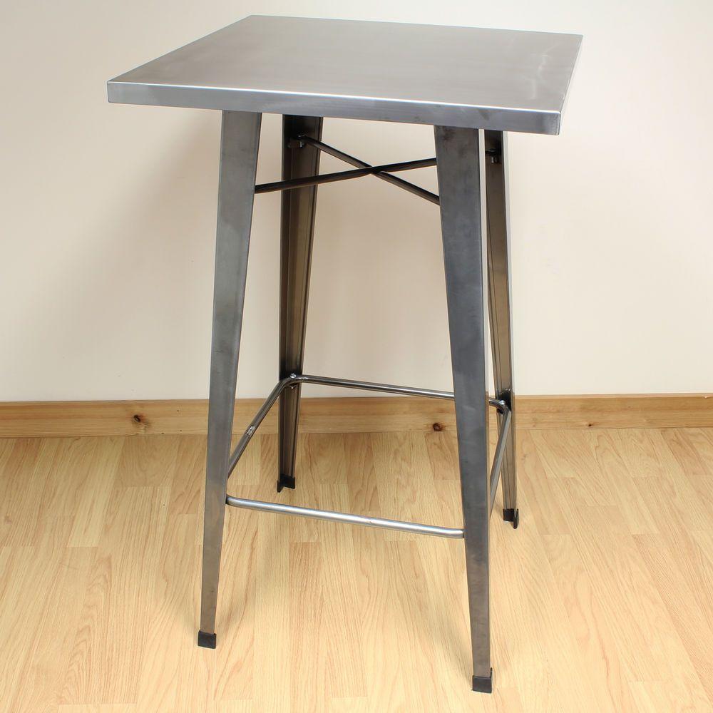 Pleasant Details About Gunmetal Tall Metal Square Bistro Cafe Bar Customarchery Wood Chair Design Ideas Customarcherynet