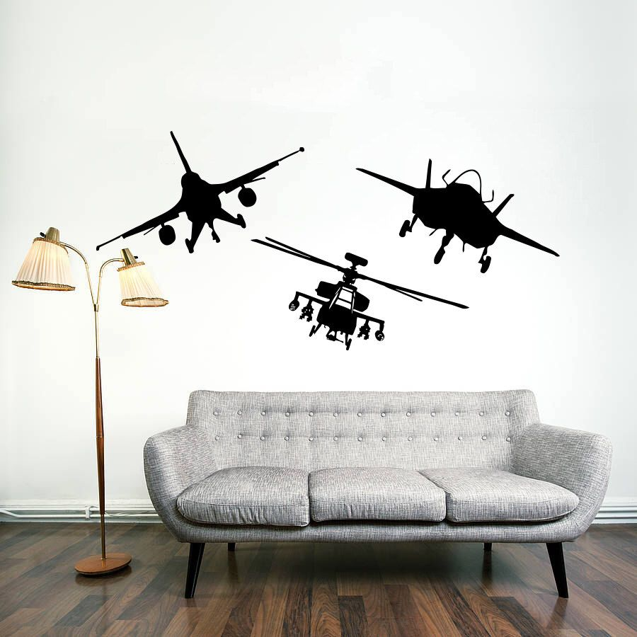 Military Bedroom Decor Airplane Wall Vinyl Decal Military Aviation Bomber Stickers Air
