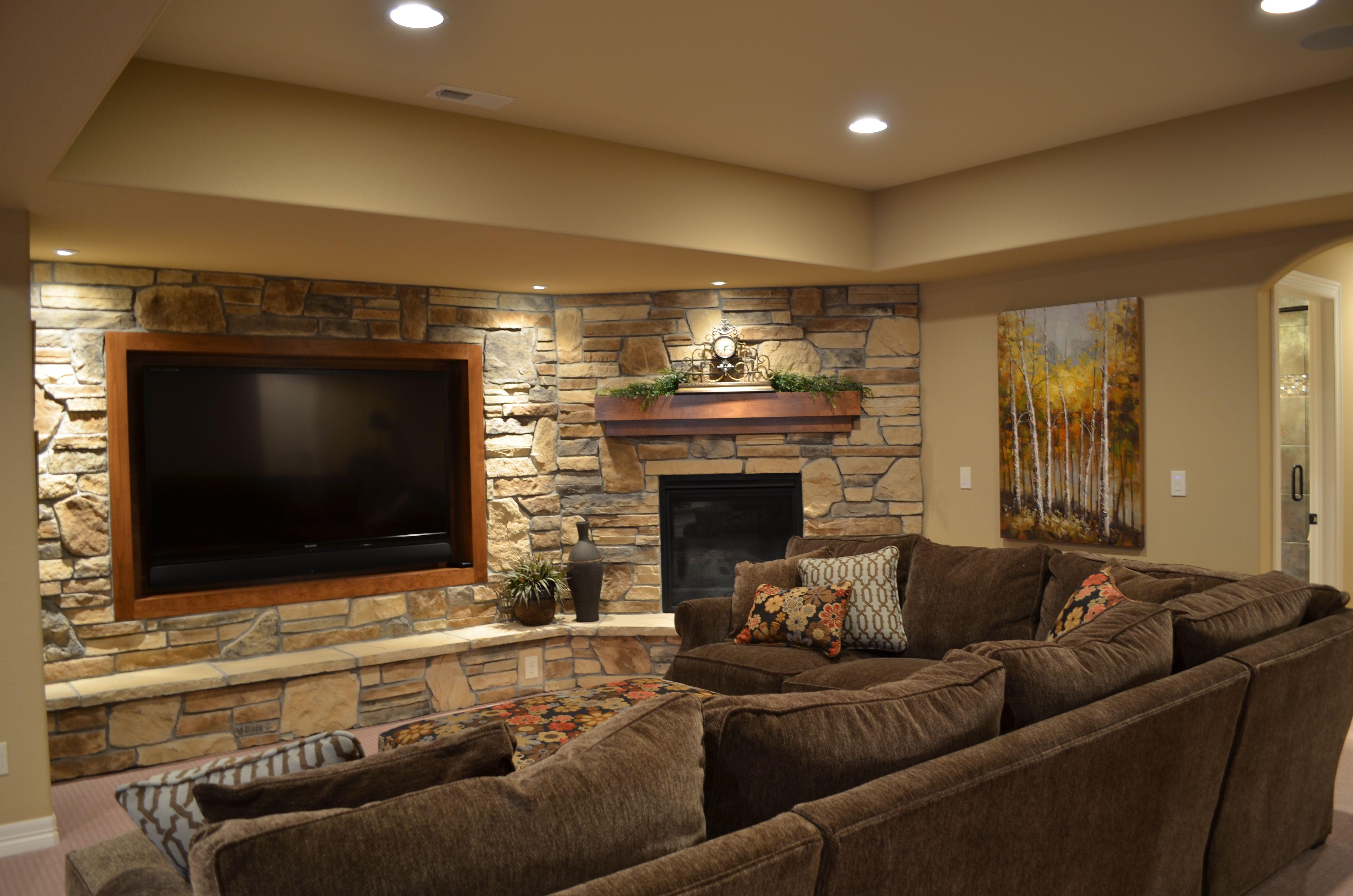 Framing A Basement In Denver Basement Living Rooms Rustic