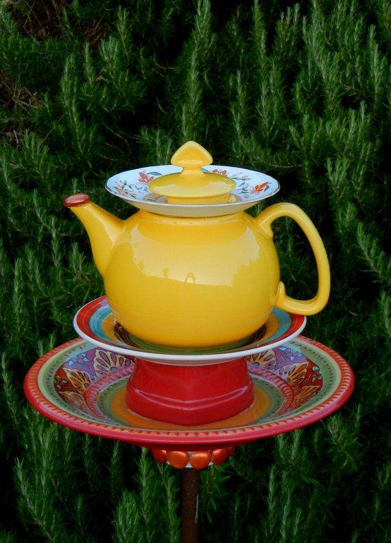 MOROCCAN SUNSET - Garden Art, Bird Feeder, Repurposed, Garden Totem, Garden Decor, Birdfeeder, Garden Sculpture, Yard Art, Teapot Art